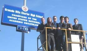 Councilmember Mitchell Englander Unveils Street Sign Congratulating Granada Hills Charter High for Winning the National Academic Decathlon