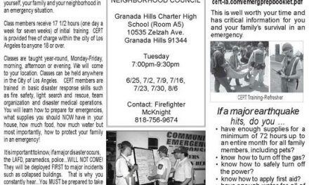 Free Cert Class Begins in Granada Hills Next Week – 7 Consecutive Tuesdays at GHCHS