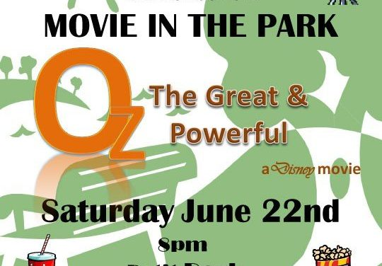 "FREE Movie in the Park – Saturday, June 22 – Disney's ""Oz, the Great & Powerful"""