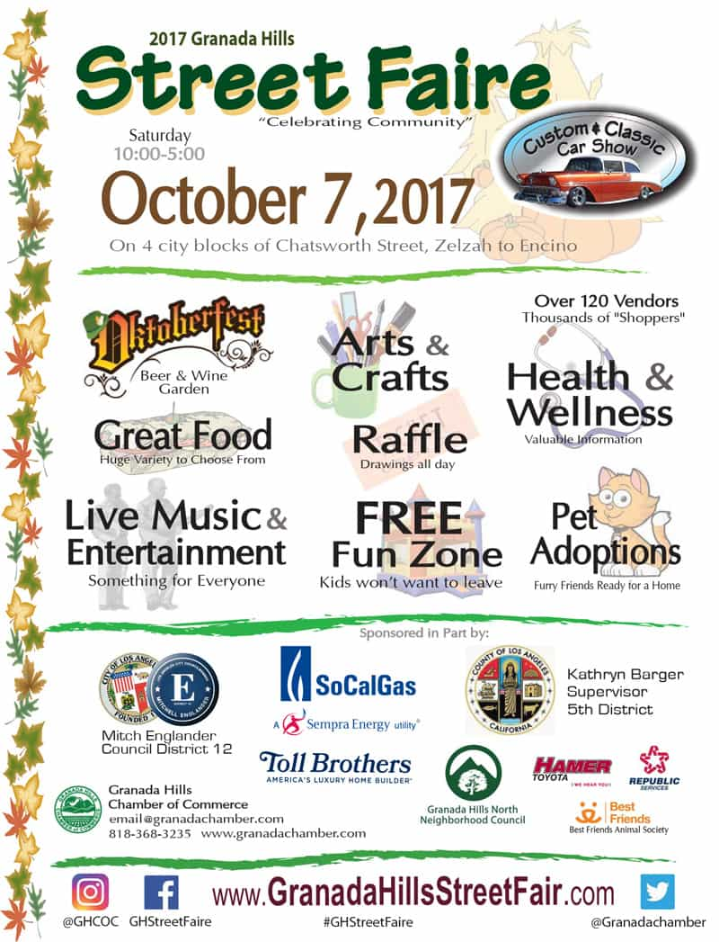 Granada Hills Street Faire, Saturday, October 7