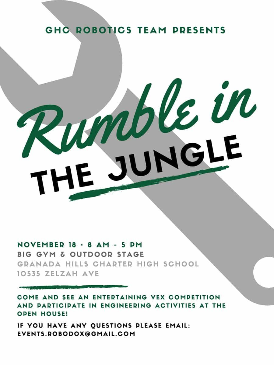 GHCHS Robotics Team Presents Rumble in the Jungle Vex Competition