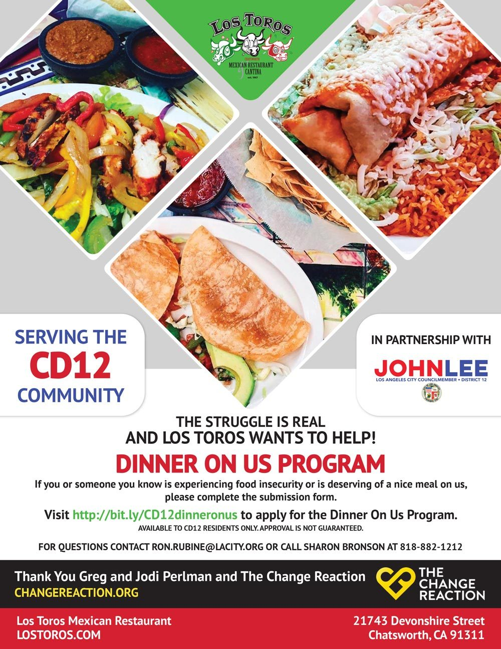 """CD12 Partners with Los Toros for the """"Dinner On Us"""" Program"""